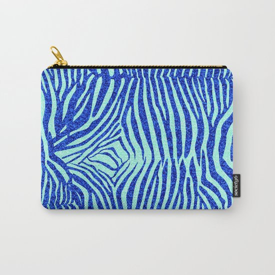 Blue Glitter Zebra Print Carry-All Pouch
