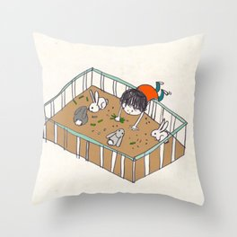 feeding the bunnies Throw Pillow