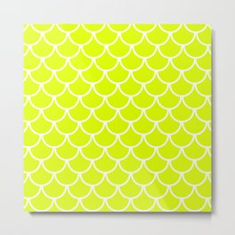 Chartreuse Fish Scales Pattern Metal Print
