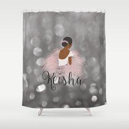African American Ballerina Dancer Personalized Name KEISHA Shower Curtain