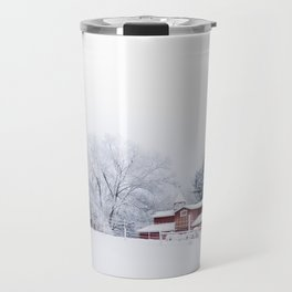 Winter Red Barn and Pine Trees in Minnesota Travel Mug