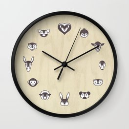 Animal Clock with Wooden Background Wall Clock
