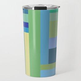 Abstract Blue Mint Green Geometry Travel Mug