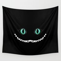cheshire cat Wall Tapestries featuring Cheshire Cat (eyes) by Borja Fernández