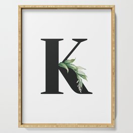 Letter K Initial Floral Monogram Black And White Poster Serving Tray