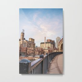 Stone Arch Bridge   Minneapolis Minnesota   Architecture and City Photography with Colorful Sky and  Metal Print
