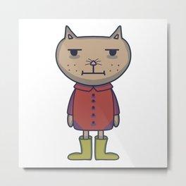 Sad Cat In A Raincoat Metal Print
