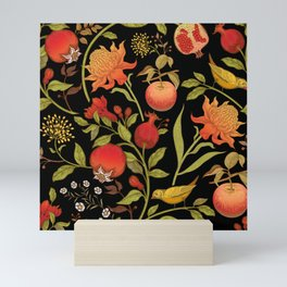 Exotic flowers birds and fruits pattern Mini Art Print