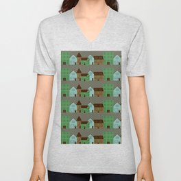 Cityscape with colored houses on a pavement street  Unisex V-Neck