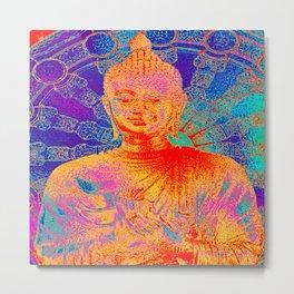 Rainbow coloured Buddha Metal Print