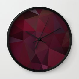 Abstract background of triangles polygon design red marsala colors Wall Clock