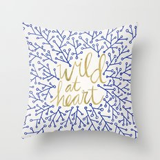 Wild at Heart – Navy & Gold Throw Pillow