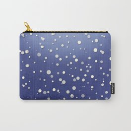 Winter Snow Navy Blue Ombre Background Carry-All Pouch