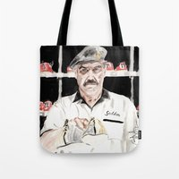 "big lebowski Tote Bags featuring The Big Lebowski ""Saddam"" by Gregory Nordquist"