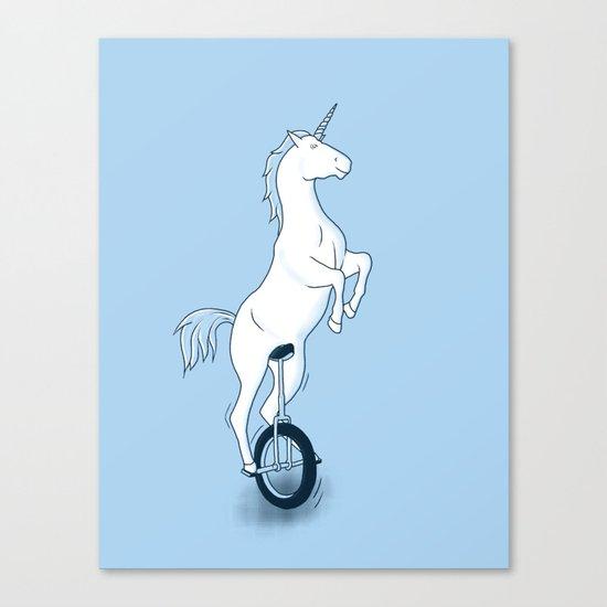 Unicorn on a unicycle - blue Canvas Print