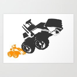 Small Tractor Helping a Big Tractor Art Print