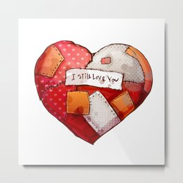 Heart with patches. Valentines day illustration. Metal Print