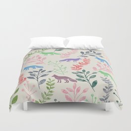 Watercolor Floral & Fox III Duvet Cover