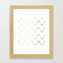 Simply Deconstructed Chevron White Gold Sands on White Framed Art Print