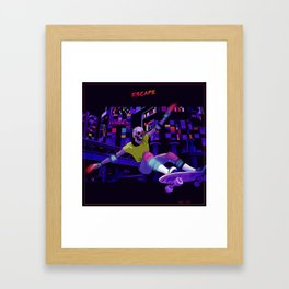 Escape cyberpunk 80's skateboard Framed Art Print