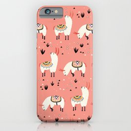 White Llamas in a pink desert iPhone Case