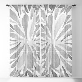 Symmetric drops - black and white Sheer Curtain