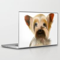 yorkie Laptop & iPad Skins featuring Yorkie Puppy on White  by barefoot art online