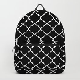 Black and White Moroccan Quatrefoil Backpack