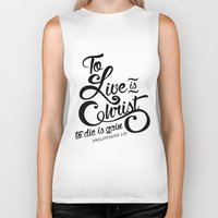bible verse Biker Tanks featuring Typographic Verse by Ruthie Designs