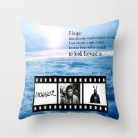 donnie darko Throw Pillows featuring Donnie Darko by Arianna Bears