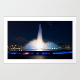 Dramatic night shot of the Pittsburgh Fountain Art Print