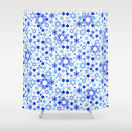 Dynamic Blue Stars of David Pattern Shower Curtain