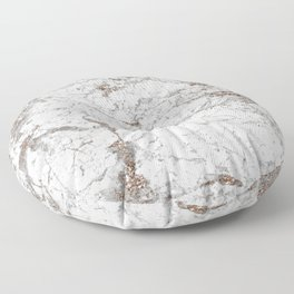 White frost - rose gold marble Floor Pillow