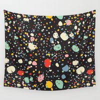 toddler Wall Tapestries featuring   Modern Scandinavian Multi Colour Color Pebbles Black by Season of Victory