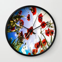 Poppies on the Sky Wall Clock