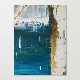 Rain [3]: a minimal, abstract mixed-media piece in blues, white, and gold by Alyssa Hamilton Art Canvas Print