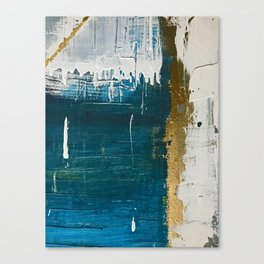 Rain [3]: a minimal, abstract mixed-media piece in blues, white, and gold by Alyssa Hamilton Art Canvas Print