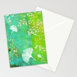 Green Ginkgo Tile Stationery Cards
