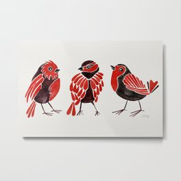 Finches – Red & Black Palette Metal Print