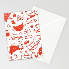 Cats In Red Stationery Cards