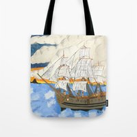 pirate ship Tote Bags featuring Pirate Ship At Sea by J&C Creations
