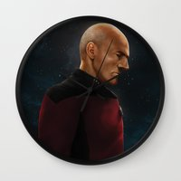 picard Wall Clocks featuring Picard by ErstwhileSky