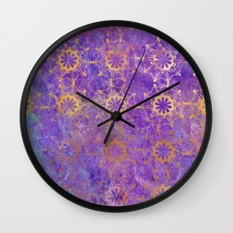 Pop Painted Pattern:  Purple and gold watercolor abstract ornament Wall Clock