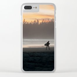 Sunset and surfing, Tofino British Columbia Clear iPhone Case