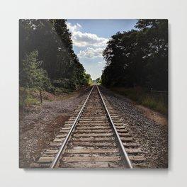 Train Track Path Into the Distant Horizon Metal Print