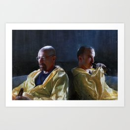 Walter White and Jesse Having A Beer After A Long Day's Work - Breaking Bad Art Print