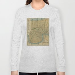 Vintage Map of New Orleans Louisiana (1893) Long Sleeve T-shirt