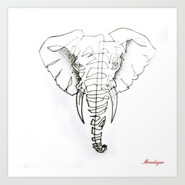 Elephant in continuous line Art Print