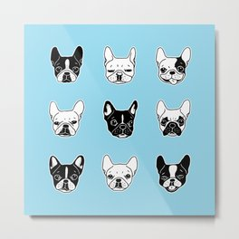 Cute Frenchies Doggie Family Collage Metal Print
