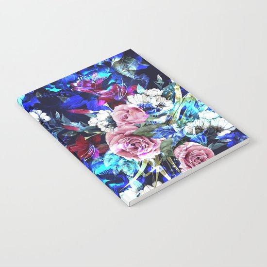 Dark Blue Floral Pattern Notebook